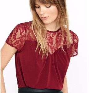 EXPRESS Maroon Red Lace Keyhole Back Top